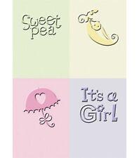 Cricut Cuttlebug Emboss Folder Card 4p 2x2.25 It's a Baby Girl Sweet Pea Shower