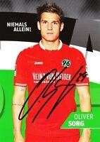 Oliver Sorg (29) + Hannover 96 + Saison 2015/2016 + Original Autogrammkarte +