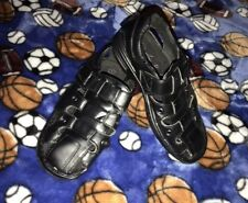Size 1 Boy's Black Dress Velcro Sandals