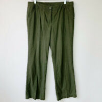 BCBG Maxazria Size 8 Linen Blend Pants Green Wide Leg Womens Casual Trousers