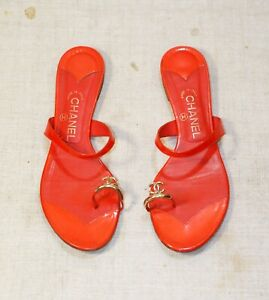 800$ CHANEL red leather CC toe ring thong flat sandals slides 42 = 41 us10-10.5