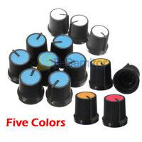 [10PCS] Black Knob Face Plastic for Rotary Taper Potentiometer 6mm Hole 5 Colors