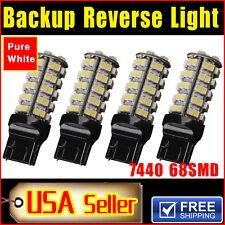 4x White 6000K 7440 T20 68smd Car Trailer Tail Backup Reverse LED Light Bulbs