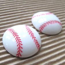 "US SELLER - 10 pcs x 1"" White Baseball Resin Flatback Beads/Embellishments SB548"