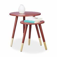 Relaxdays 10020344 47 Set tavolini da salotto legno Rosso 48x48x48 cm (i6q)
