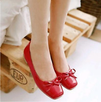 Women's Square Toe Bowknot Pumps Summer Fashion Slip On Low Heel Flats Shoes Sz