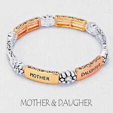 Mother Daughter Bracelet COPPER SILVER Rhinestone Love Filigree Message Jewelry