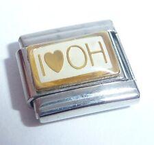 I LOVE OH Italian Charm GOLD HEART OHIO USA - fits Classic Starter Bracelets 9mm