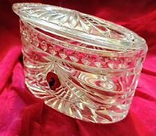 Waterford crystal oval box with lid overture pattern with tag no box dresser box