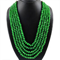 987.55 CTS EARTH MINED 5 STRAND RICH GREEN EMERALD ROUND SHAPE BEADS NECKLACE