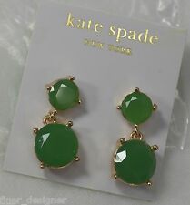 KATE SPADE NEW YORK drop dangle cushion cut round green emerald earrings NEW NWT