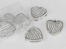 Streudeko Herzen Strass D. 4cm silber mit Kristallglas 6 Stück Formano