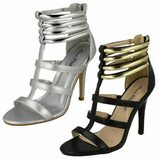 Zip Stiletto Synthetic Sandals for Women