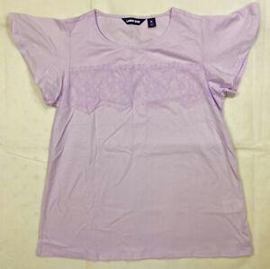 Lands End Short Sleeve Lace Trim Flutter Sleeve Pima Cotton Top Womens M L Lilac