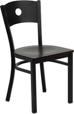 (10 Pack) Black Circle Back Metal Restaurant Chair With Mahogany Wood Seat