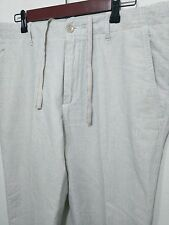 Banana Republic Relaxed Fit Mens Linen Cotton Blend White Flat Front Pants 35/32