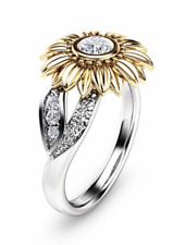 Silver Gold Two Tone Flower Sunflower CZ Costume Cocktail Statement Ring Size S