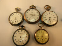 STEM WIND SILVER CASED POCKET WATCHES FOR RESTORATION OR PARTS