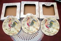 3 American Atelier At Home Rooster Salad Dessert 8.25'' Plate New Box Style B
