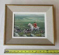 English fox hunt, hunting dogs, horse, British landscape painting oil? on wood?