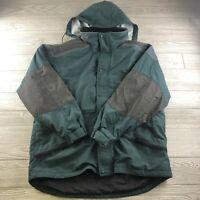 Men's Cabela's Outdoor Gear Green Rain Jacket Full Zip Size L Hoodie Nylon Blend