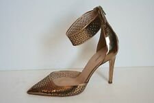 JCrew Collection Natasha Perforated Mirror Metallic Pumps 10 Gold Ankle Cuff