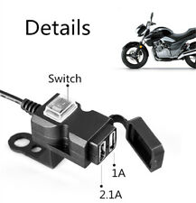 1x Motorcycle USB Charger with Mounting Accessories Synthetic Plastics 12V-24V