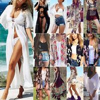 Womens Boho Floral Kimono Bikini Cover Up Cardigan Summer Beach Sunscreen Tops