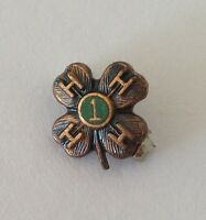 HHHH Fraternity 1 Year Tiny Four Leaf Clover Pin Badge Vintage Authentic (N8)
