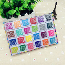 New 24 Color Rubber Stamps Ink Pad for Paper Fabric Wedding Finger Print UK