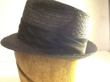 Vintage men's straw Hat Fedora size 6-7/8 Brent Great Vintage Black Straw Hat