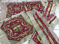 Antique Set 4 pcs needlepoint covers for settee~chair~valances Magenta & Green