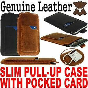 SLIM PULL-UP CASE WITH CARD POCKET GENUINE LEATHER SLEEVE COVER POUCH FOR PHONE