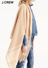 New J.CREW cape scarf beige tan camel ivory plaid check wool muffler wrap fringe