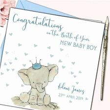 Personalised New Baby Arrival Card Boy Cute Elephant