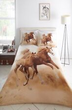Double Bed Duvet Cover Set Galloping Horses Design Print 100 Polyester