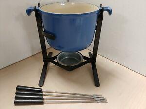 Le Creuset Cast Iron Fondue Set Blue Pot Stand Forks G9
