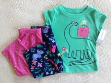 "3Pc Nwt Carter'S Girl's Pajama Set ""Sleeping Cutie� Teal/Pk/Nvy Size 2T"