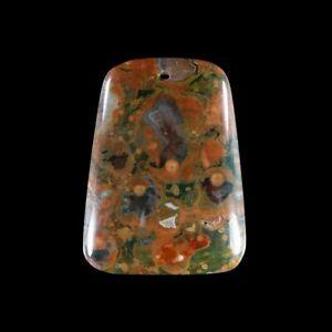 Rhyolite Rainforest Jasper 48x36x7 mm  bead GJ815001