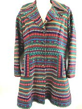 VINTAGE COLORFUL EMBROIDERED SINGLE BREASTED WOMENS COAT GUATEMALA BOHO S