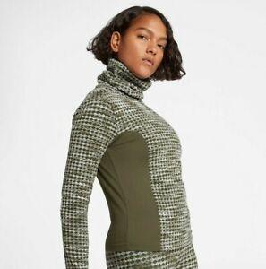 Women's Nike Pro Hyperwarm High Neck Top - UK: M - Green Khaki - RRP: £74.95