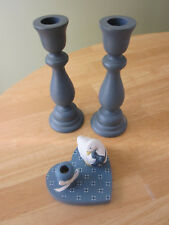 WOODEN CANDLESTICK HOLDERS 3 Matching Pair PLUS Ceramic Goose on Heart Base VGVC