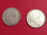 Lot 2 Canadian 80% Silver Quarters EXACT COINS 1961 & 1962 Nice Grade
