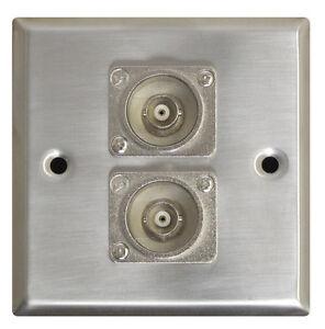 Silver Metal AV Wall Plate With 2x BNC Sockets. Standard Size **NEW**