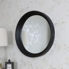 GRAND NOIR ROND SUPPORT MURAL MIROIR CHIC RÉTRO rustique Vanité salle de bain