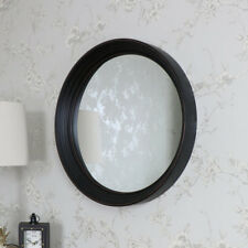 Large Black Round Wall Mounted Mirror Shabby Vintage Chic Retro Vanity Bathroom