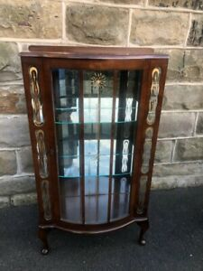 Antique Glazed Walnut Display Cabinet