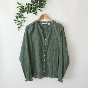 Orvis Women's Long Sleeve Crepe Cotton Long Sleeve Button Front Top XL Green