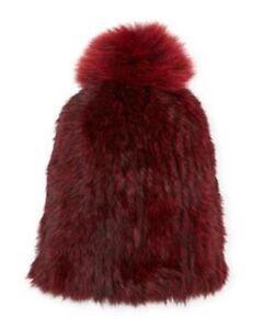 ANNABELLE CAREY WINE RABBIT KNITTED HAT WITH FOX POM POM ONE SIZE BNWT $150