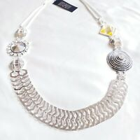 "Erickson Beamon Rocks Necklace Crystal Silvertone Metal Woven Mesh Chains 28"""